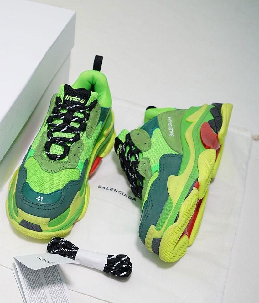 cb11a50b891c 85 Balenciaga Triple S Trainers Ventage Sneaker Green ...