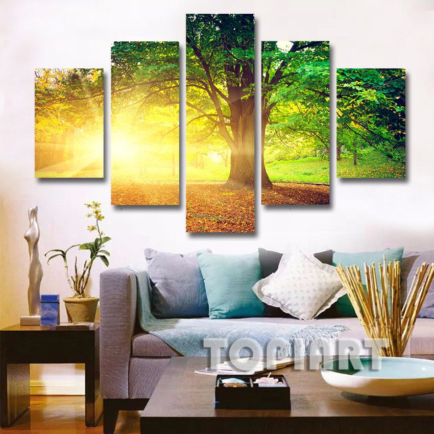 5 Panel Wall Decor Landscape Canvas Painting Morning Sunshine In ...
