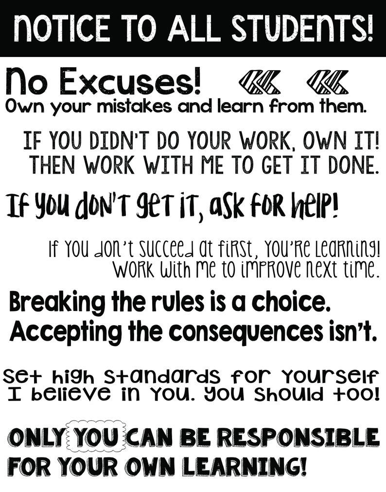 Black and White Classroom Rules Poster: Notice to all | Etsy