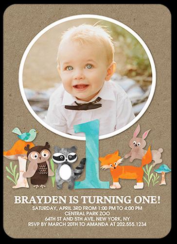 Boys Birthday Invitations Animal Festivities Rounded Corners Brown