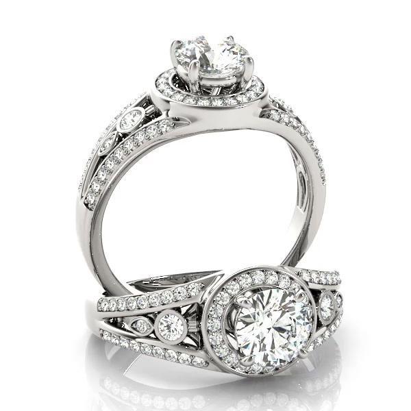 Vintage Wide Band Halo Diamond Engagement Ring 14k