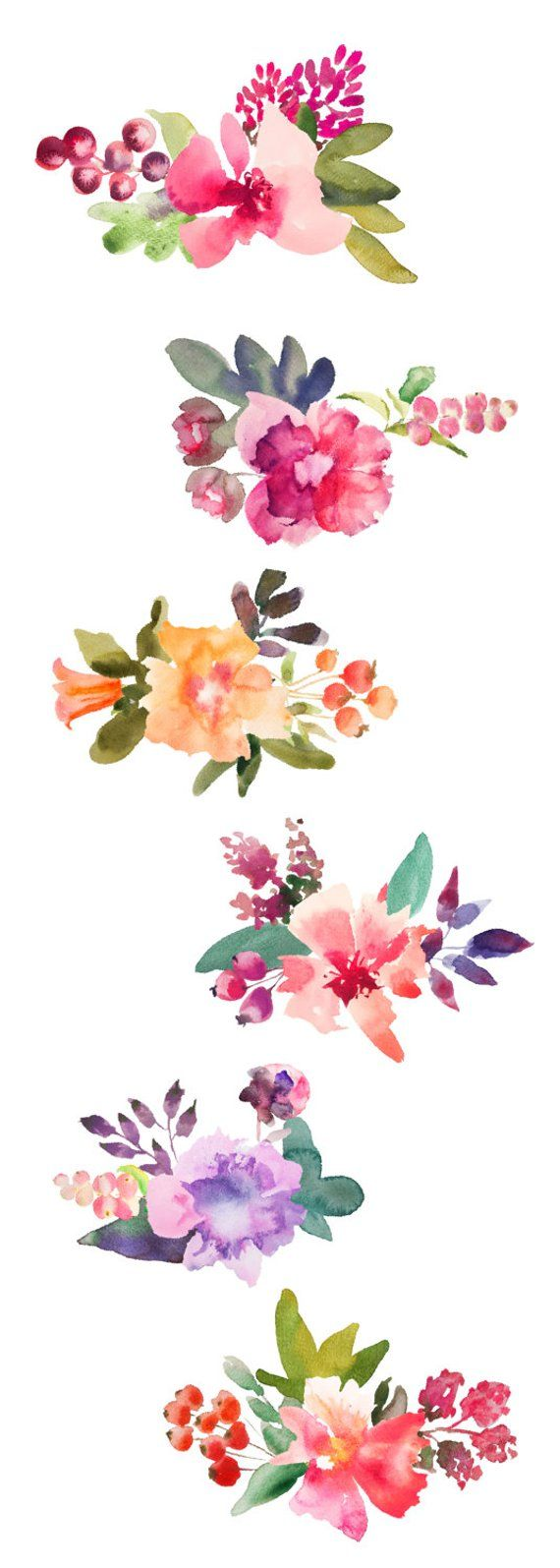 Watercolor Flowers Clipart Bunch For Personal And Small