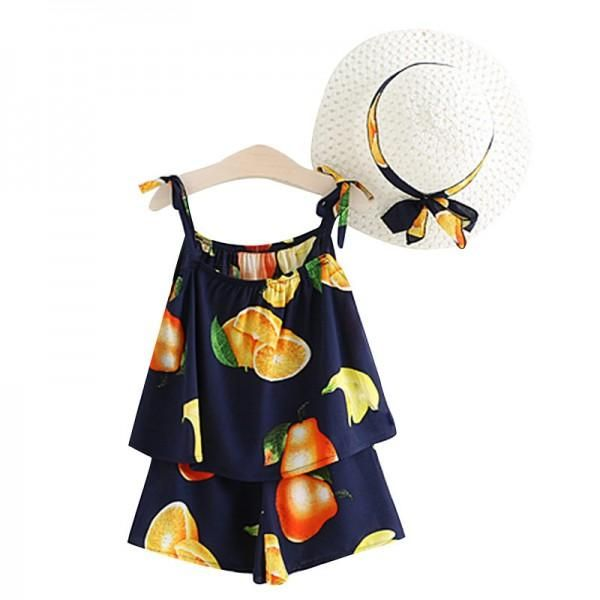 3 Pieces Fruit Printed Slip Top and Shorts Set with Hat for Baby and Toddler Girls