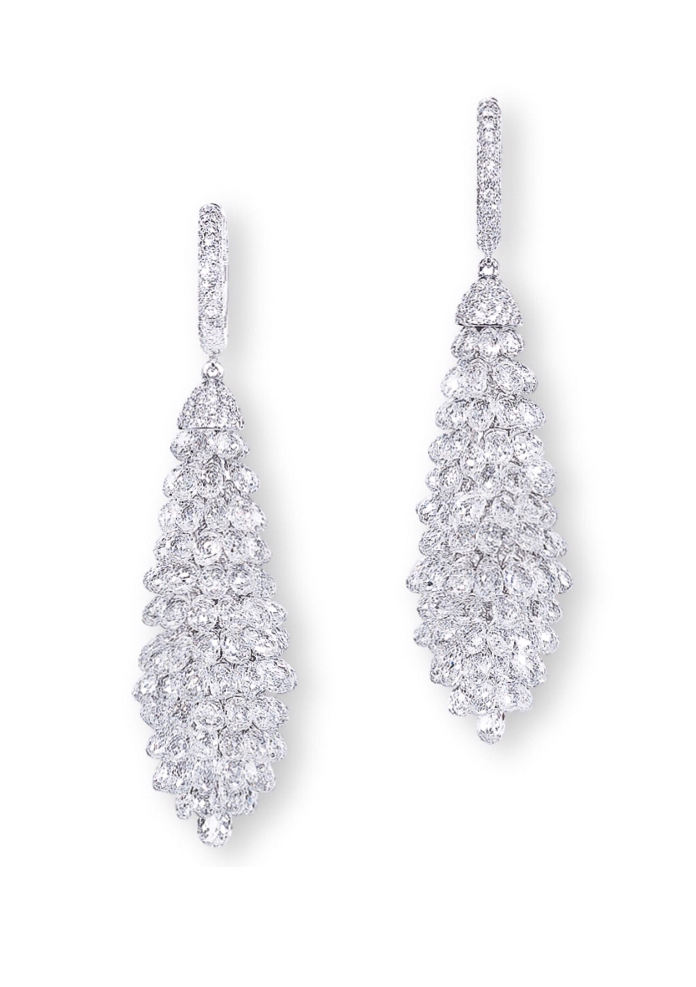 Long Black Fringe Tassel Earrings made w// Swarovski Crystal Stone Silver Metal