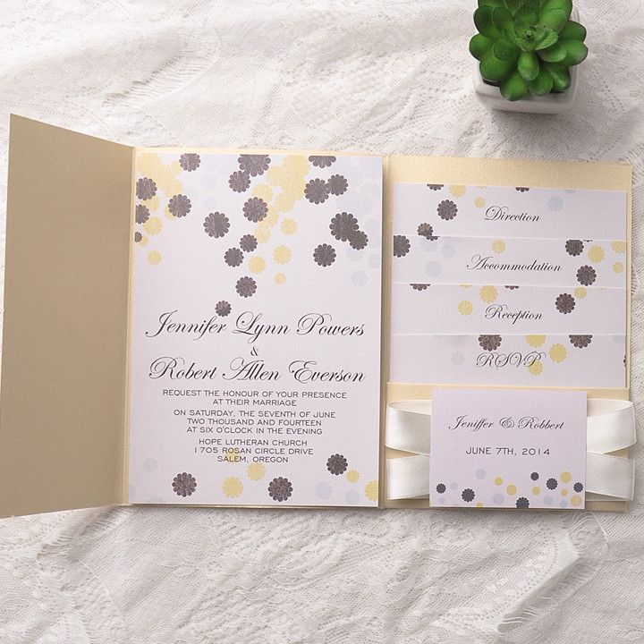 cheap elegant gold pocket grey flower wedding invitations EWPI133 ...