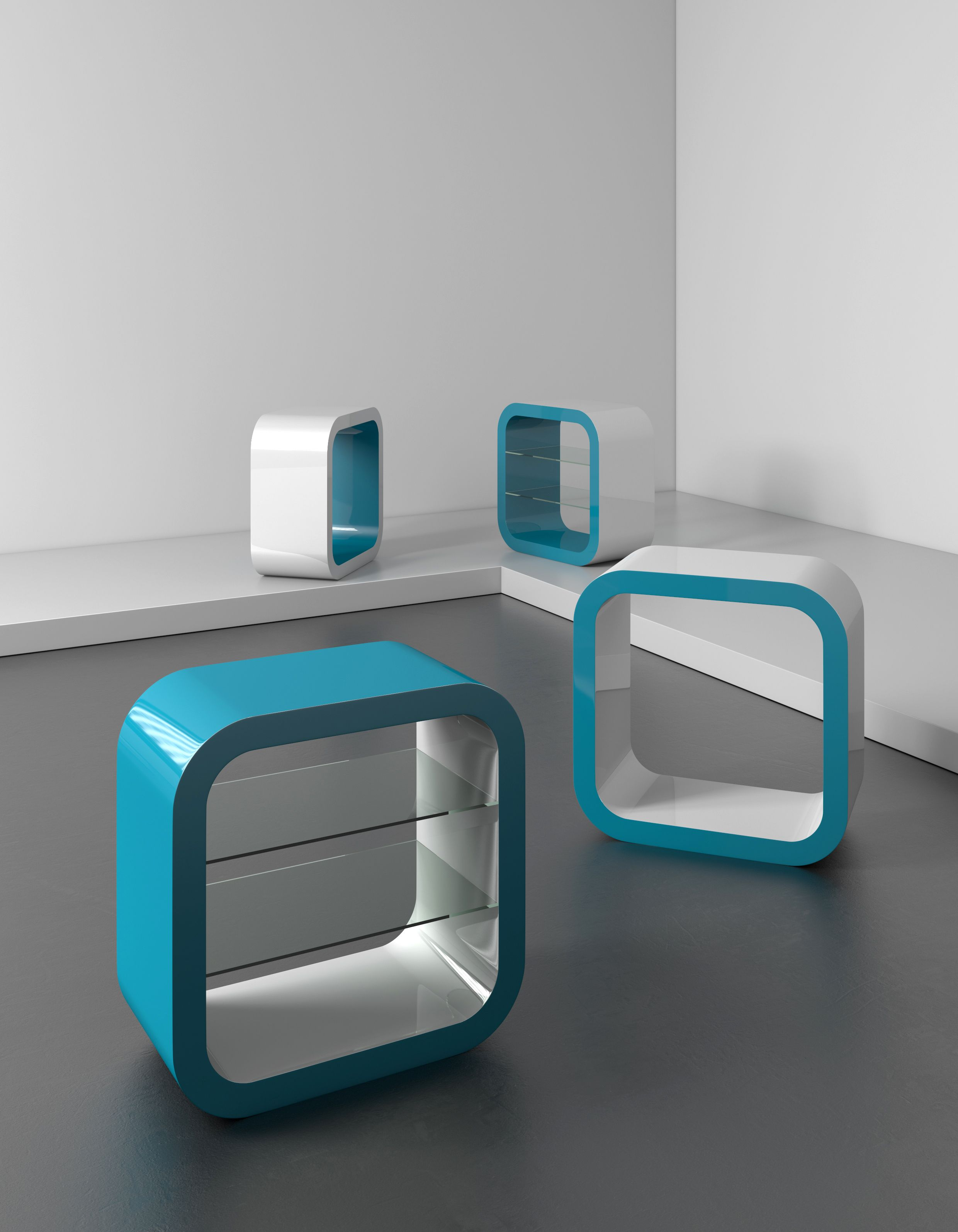 Cube Media Unit From Zespoke In Teal Gloss And White Gloss  # Muebles Violino