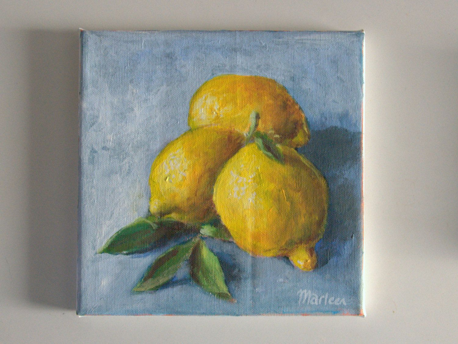 original acrylic painting lemon painting small painting kitchen art ...