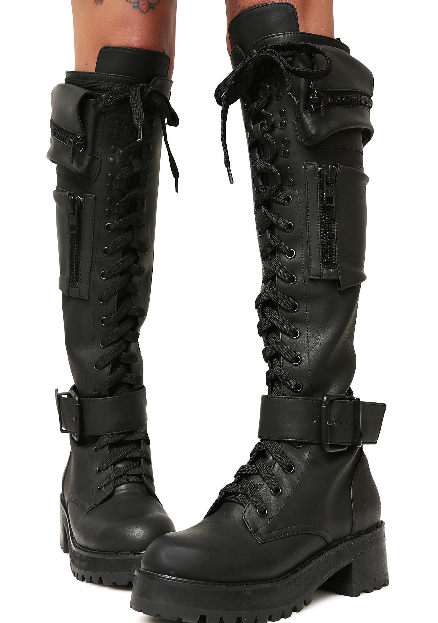 f550b23807c4 Current Mood Obsidian Pocket Combat Boots Womens Gothic Boots