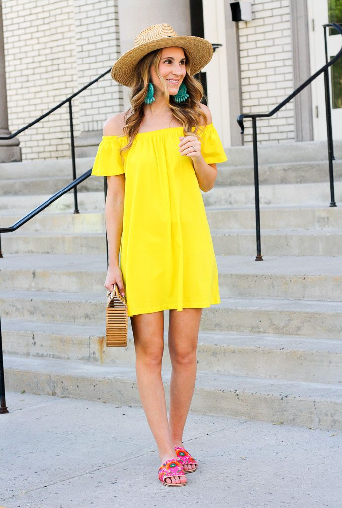 2f4f75329296 Little yellow off the shoulder dress