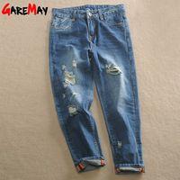 Ripped Capris Harem Jeans Woman Holes Boyfriend 2016 Autumn Plus Size Loose Women Denim Pants Trousers Jean Strappati Femme Y336
