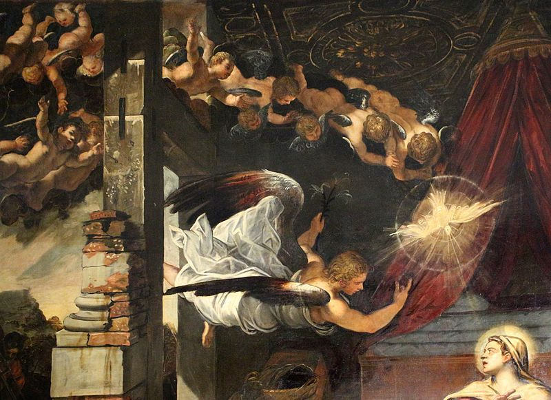 1576-81,1583-87, Tintoretto (1519-1594)The Annunciation,(detail) oil on canvas, 542×440 cm,Scuola Grande di San Rocco,