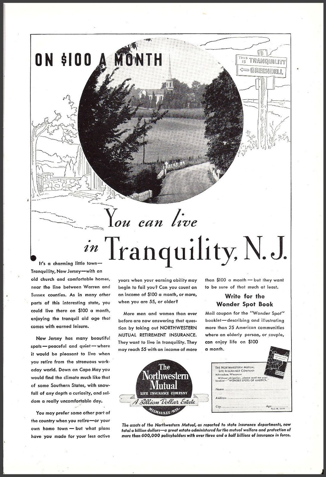 1935 Live In Tranquility Nj On 100 A Month Northwestern Mutual
