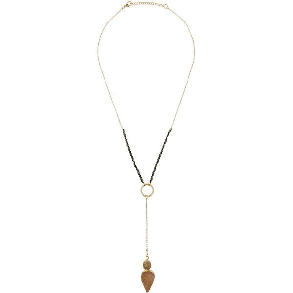 Panacea Stone Pendant Drop Necklace ($27) ❤ liked on Polyvore featuring jewelry, necklaces, hematite, beaded necklaces, druzy necklace, pendant necklace, druzy pendant necklace and cable chain necklace