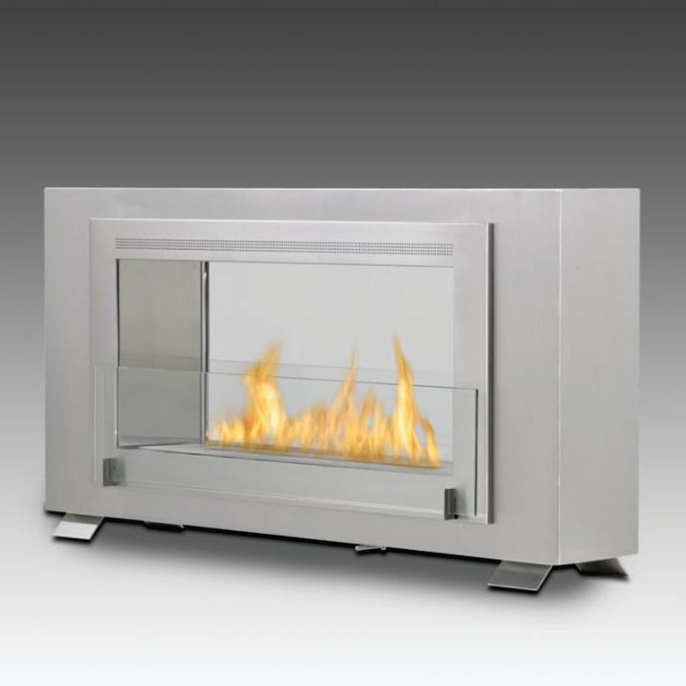 7047991 Canada Inc Dba Montreal 2 Sided 41 In Ethanol Free Standing Fireplace In Stainless Steel Silver Ethanol Fireplace Standing Fireplace Fireplace