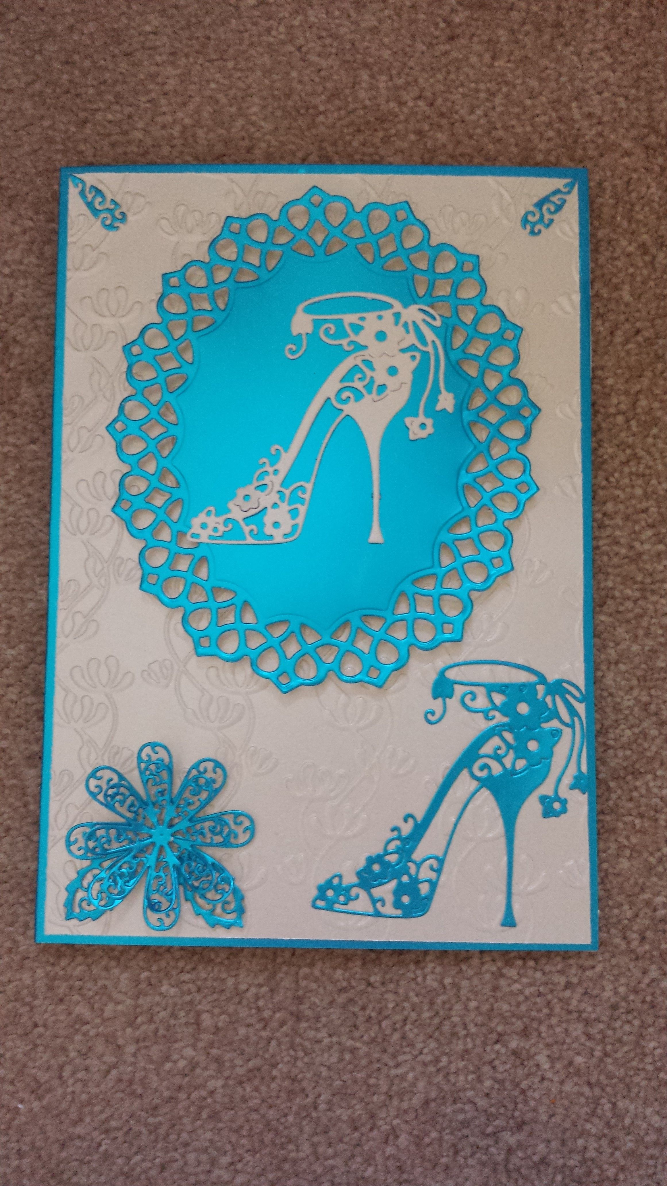 I used tattered lace shoe and flower die on a tonic frame