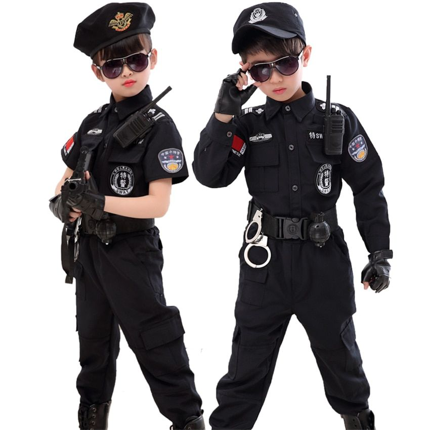 Army Police Costume Officer Child Kids Cop Boys Halloween Swat Dress Cosplay Set
