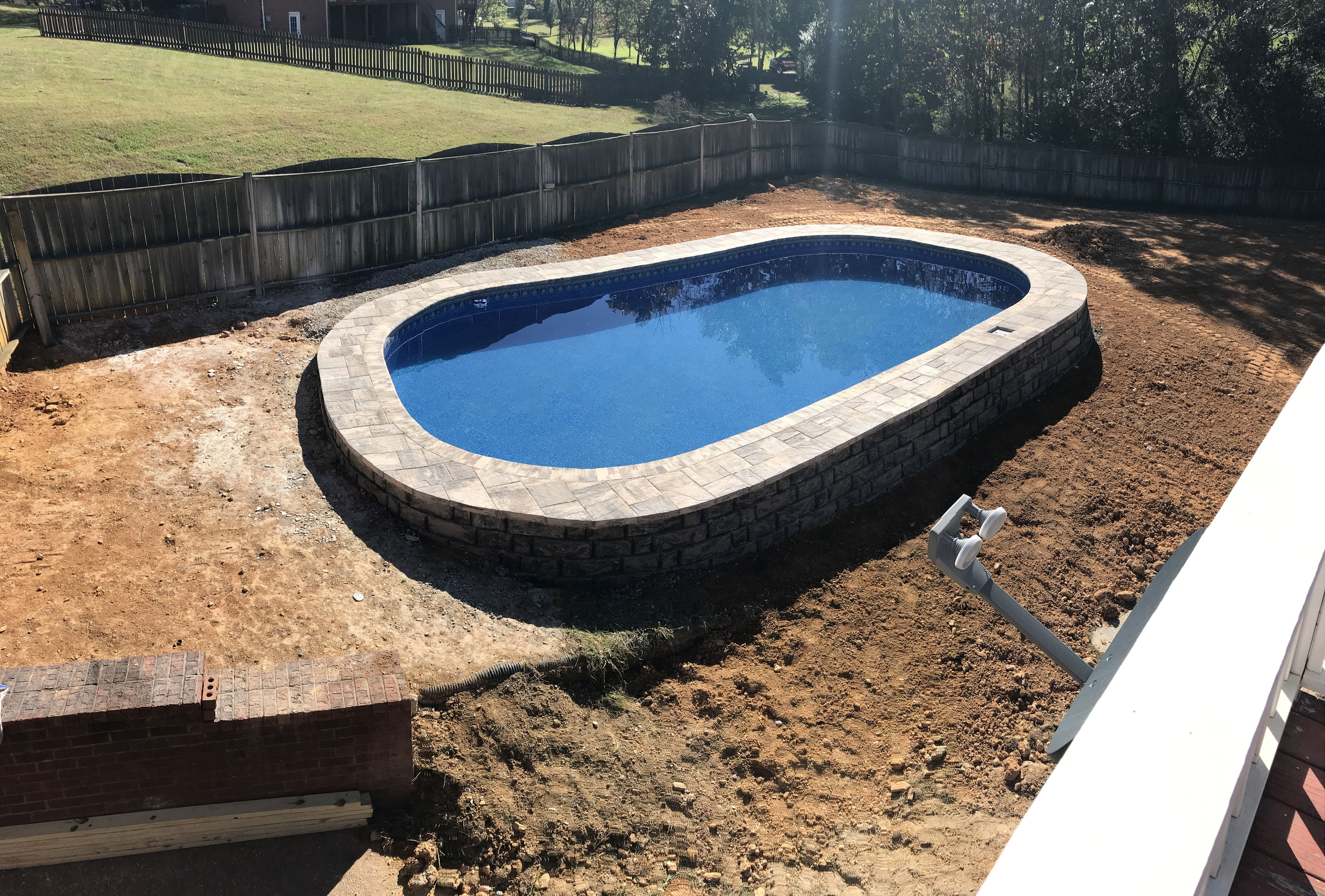 Semi In Ground Pools Partial In Ground Hybrid Pool Nashville