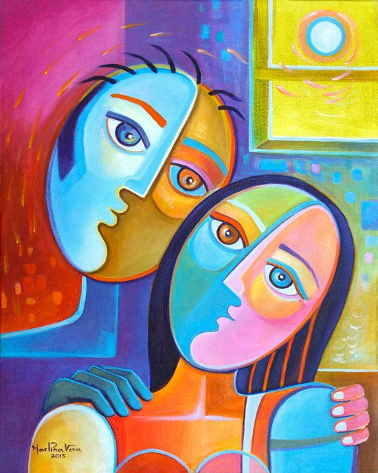 Populaire Abstract Painting Cubism Original Art Modern Couple Marlina Vera  NC08