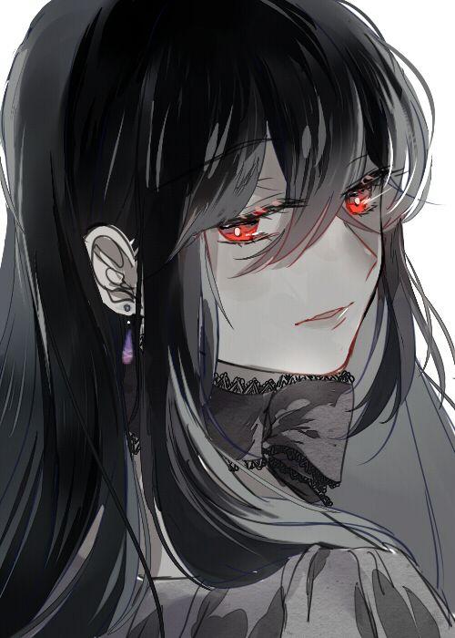 beautiful anime girl with black