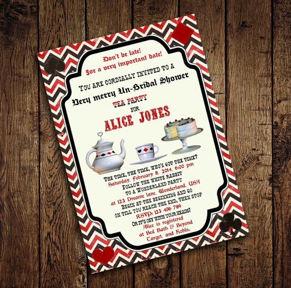 Alice In Wonderland Invitation, Vintage Birthday Tea Party