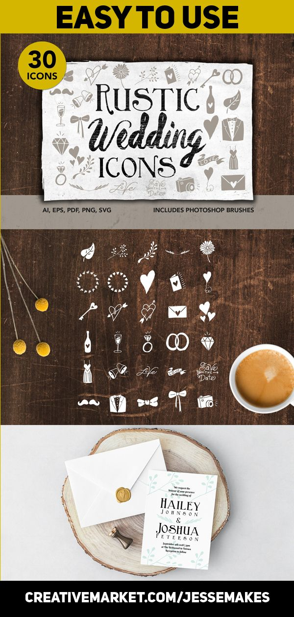 Rustic Wedding Icons Wedding icon, Rustic wedding