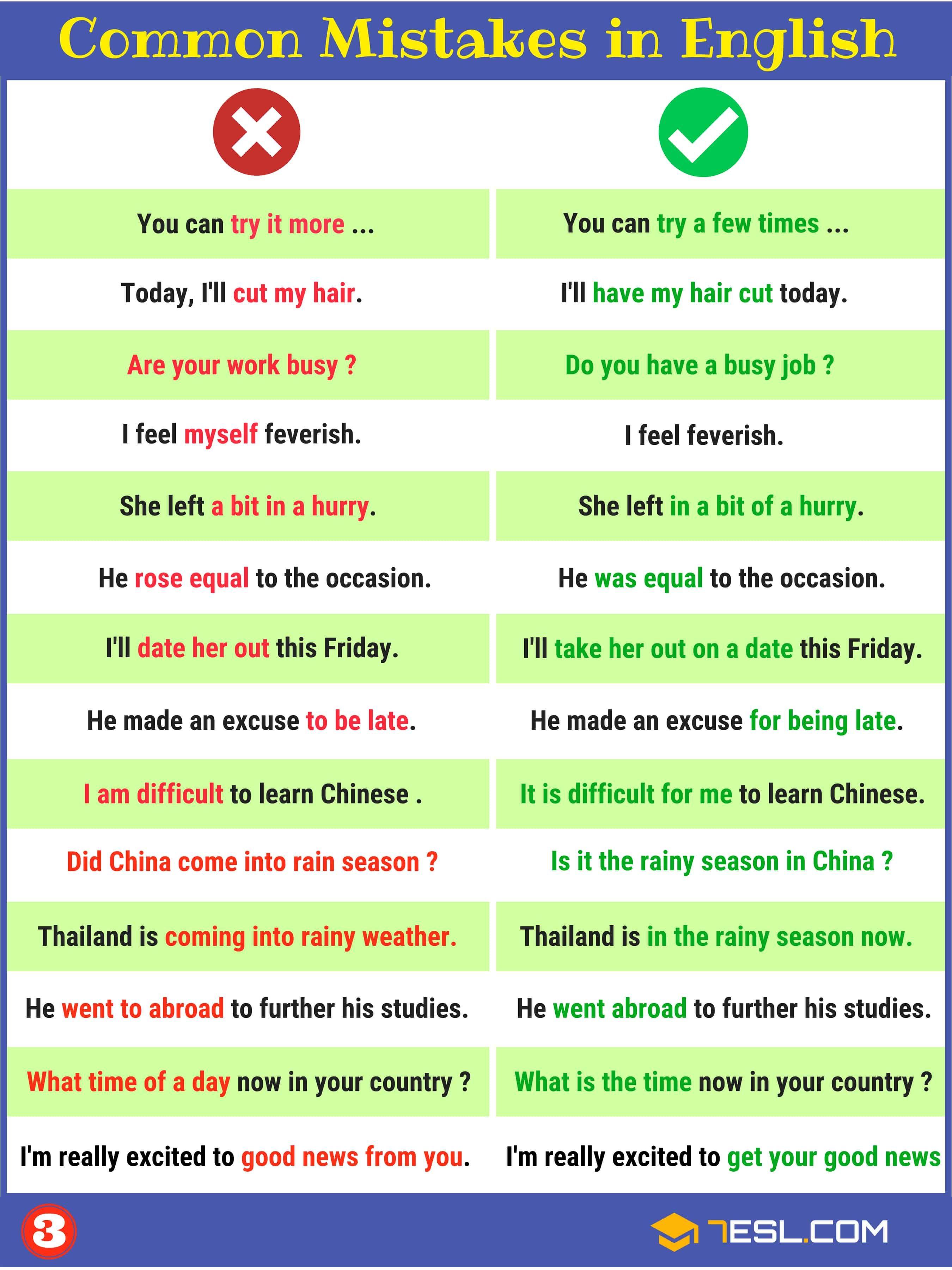 Grammatical Errors 170 Common Grammar Mistakes In English 7esl Common Grammar Mistakes Learn English English Study [ 3600 x 2700 Pixel ]