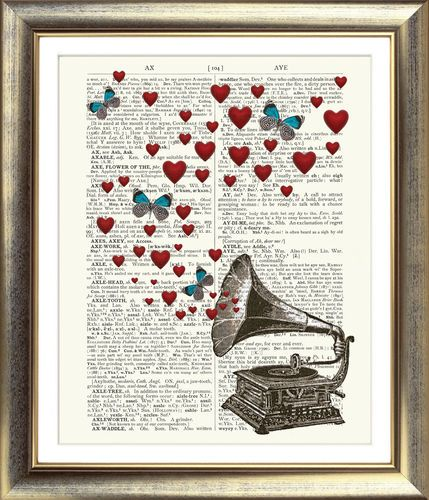 ART PRINT ON ORIGINAL ANTIQUE BOOK PAGE Gramaphone Butterfly Heart Music Vintage | eBay