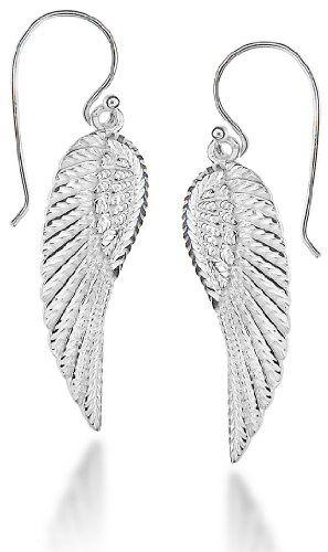 Tuscany Silver Sterling Silver Angel Wing Drop Earrings 4J5U7Ikqh