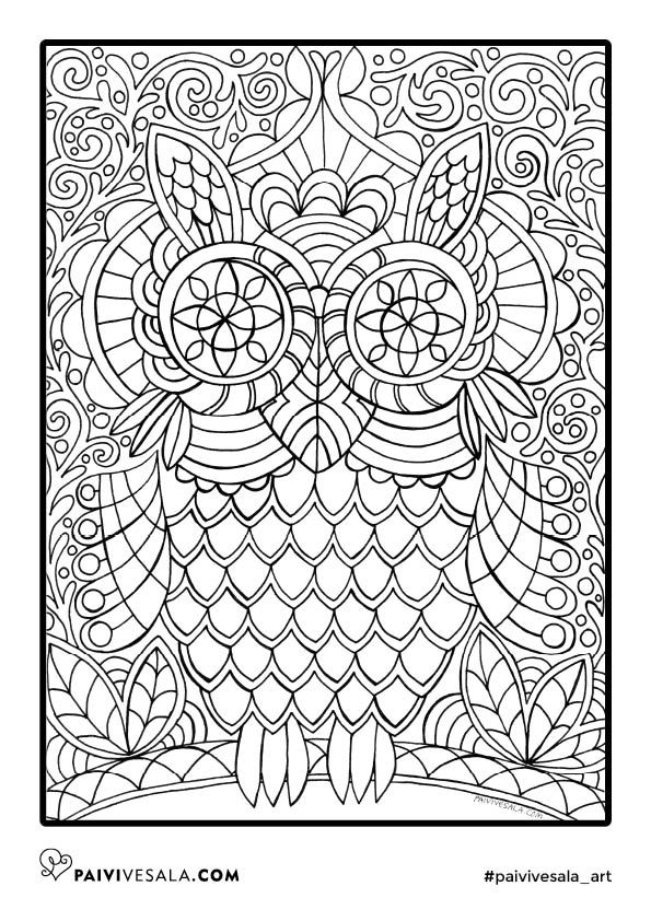 Free Printable Coloring Page From Mental Images Vol 1 Coloring Book Owl Coloring Pages Fairy Coloring Coloring Books
