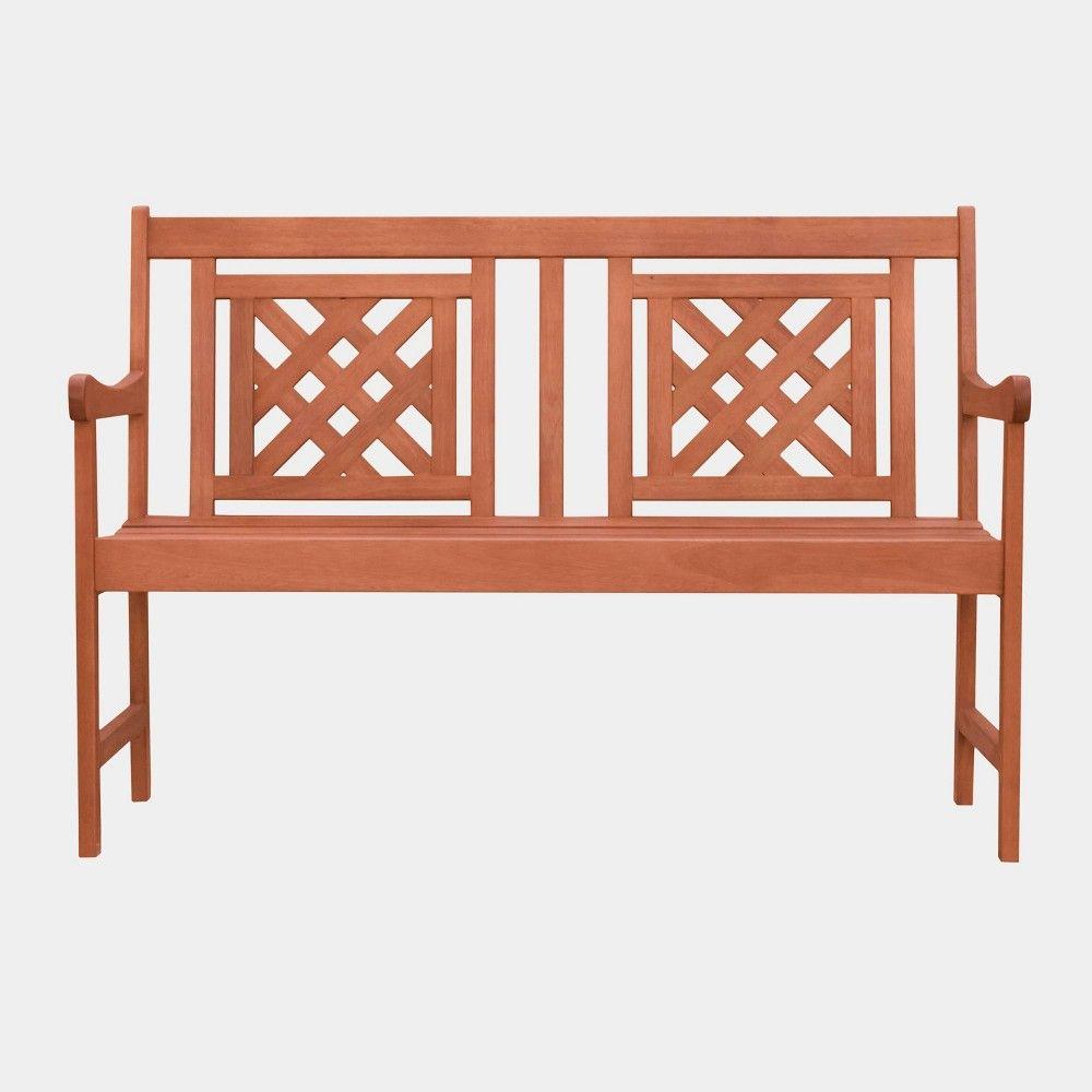 Vifah Patio Furniture.Malibu Plaid Hardwood Eucalyptus Outdoor Patio Bench Tan Vifah