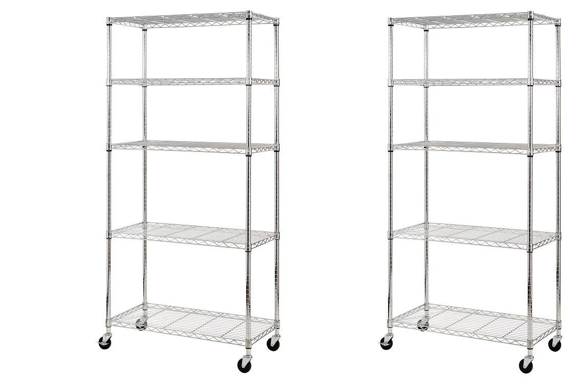 Sandusky MWS361872 5-Tier Mobile Wire Shelving Unit with 3\