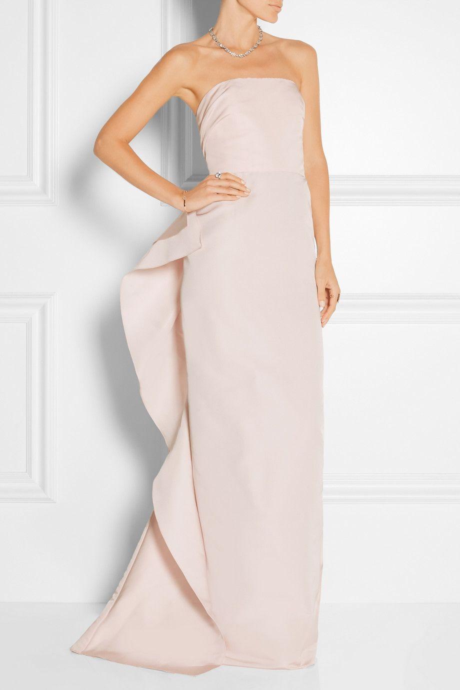 MARCHESA Ruffled silk-faille gown