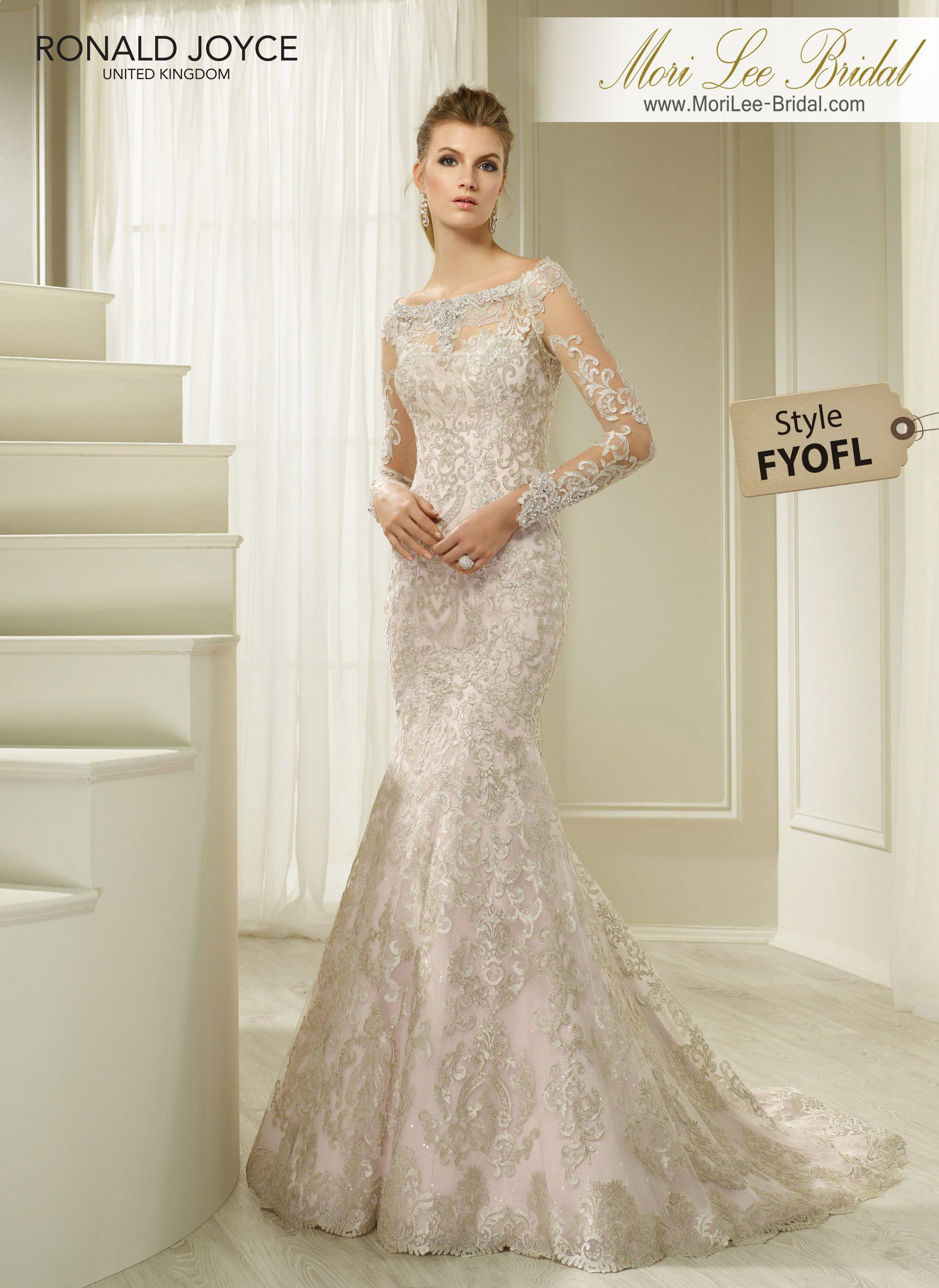 Style fyofl harbor a satin and tulle fishtail gown with allover
