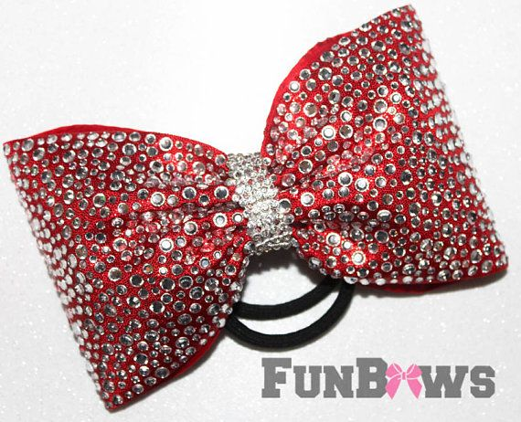 8cff0dea899 Gorgeous LARGE Red Tailless rhinestone Allstar cheer bow by Funbows ...
