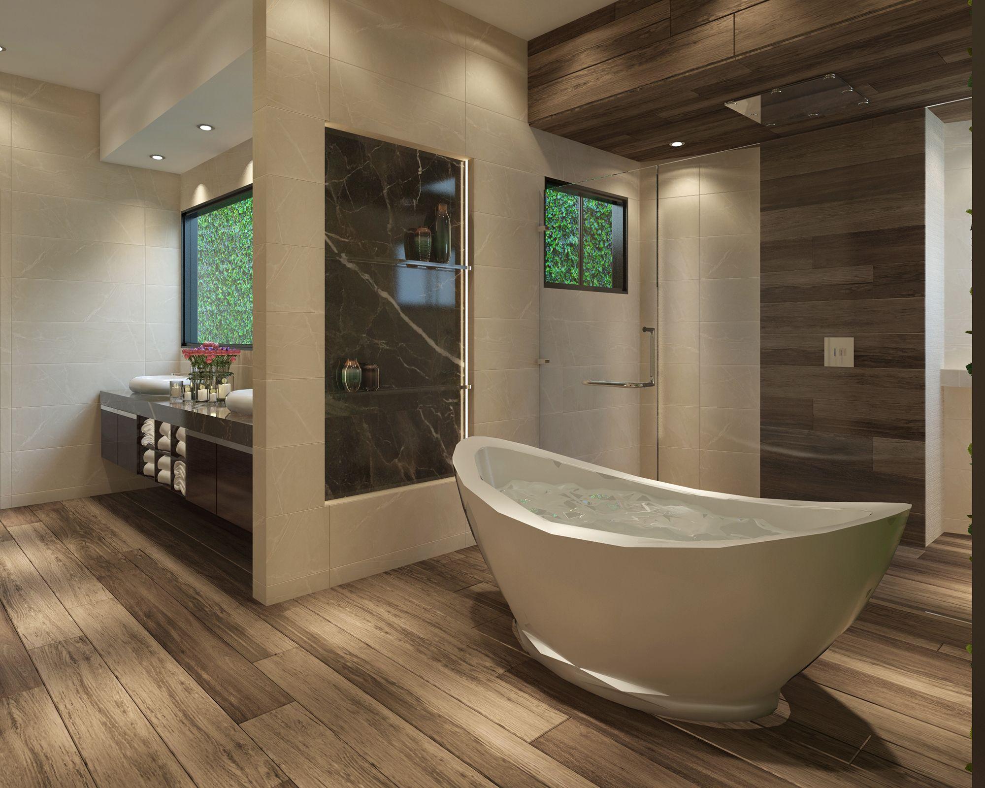Cuarto de baño de estilo contemporáneo. Materiales utilizados: (Muro ...