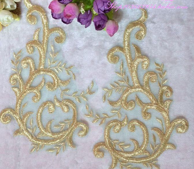 2 x brodé Venise Dentelle Paillettes /& Perles Applique Bordure Motif lilas # 2