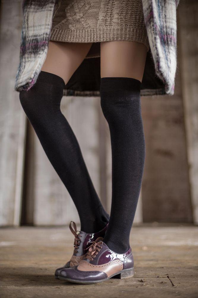 a980e9db0e8 Ladies 2 Pair Elle Plain Bamboo Over The Knee Socks Over Knee Socks