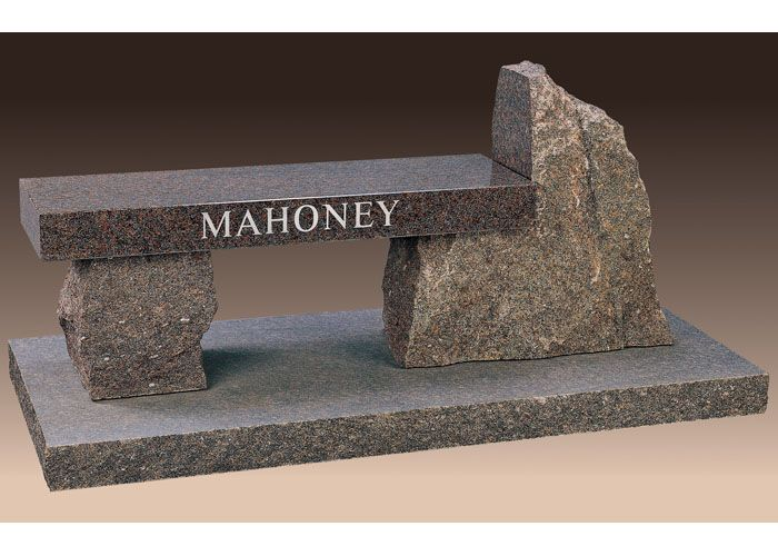 With Our Mahoney Cemetery Bench You Can Memorialize Your Loved One Forever The Bench Is Shown In Rustic Mahoga Memorial Benches Headstones Memory Garden Bench