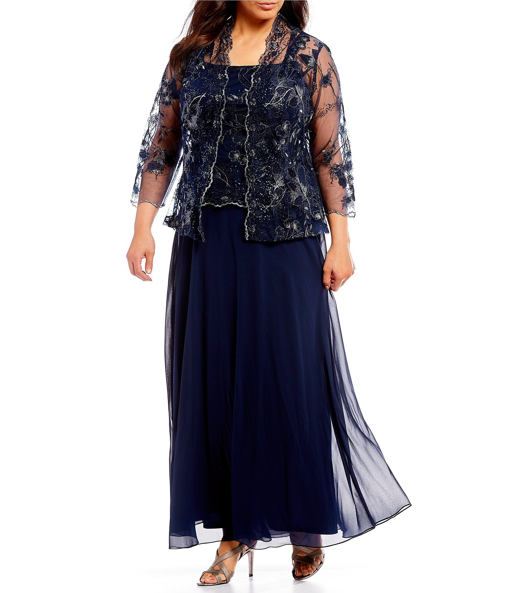 Emma Street Plus Size 2-Piece Lace Bodice Jacket Dress ...