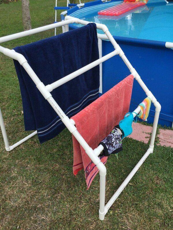 toallero de pvc para area de alberca | Toallero, Albercas ...