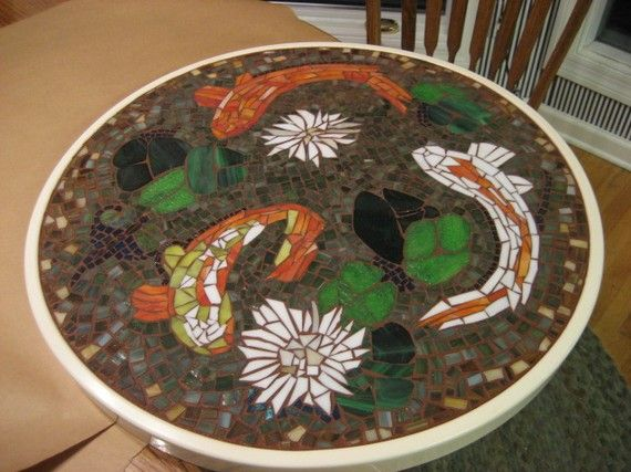 Mosaic Koi TableReserved for James M. by tallymosaics on Etsy, $460.00