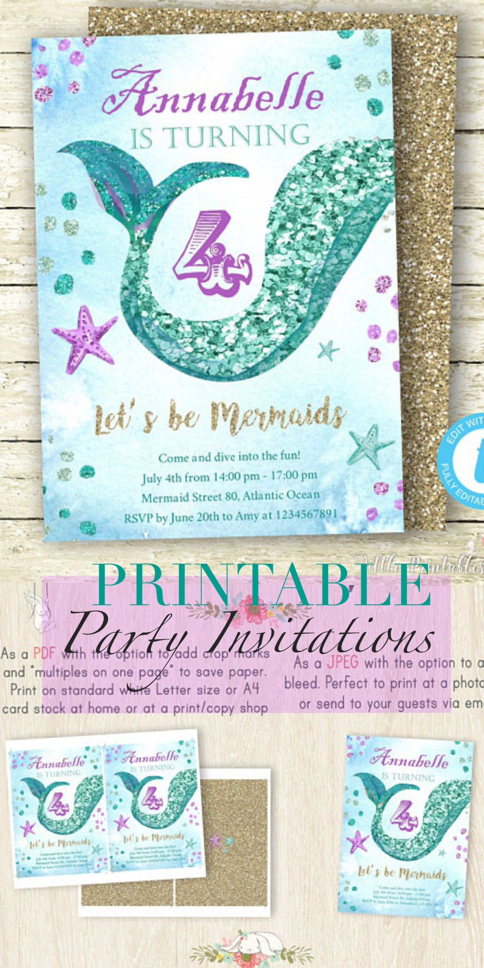 So fun! Printable Mermaid Party Invitations! #ad This will be ...