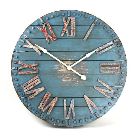 Create a rustic decor in your kitchen with the Blue Wooden Clock Face