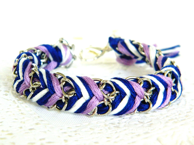 Lilac Blues - Chevron Braided Friendship Bracelet