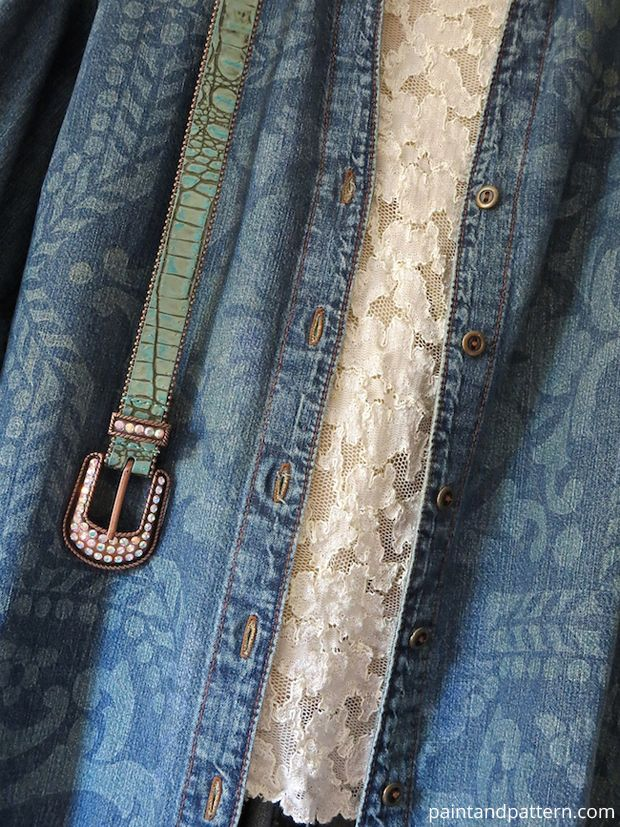 Stenciling on an old denim jacket with Discharge Paste DIY | Paint + Pattern