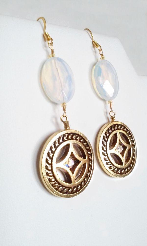 Iridescent Opalite Glass with gp Northern Star charm and swarovski crystals…