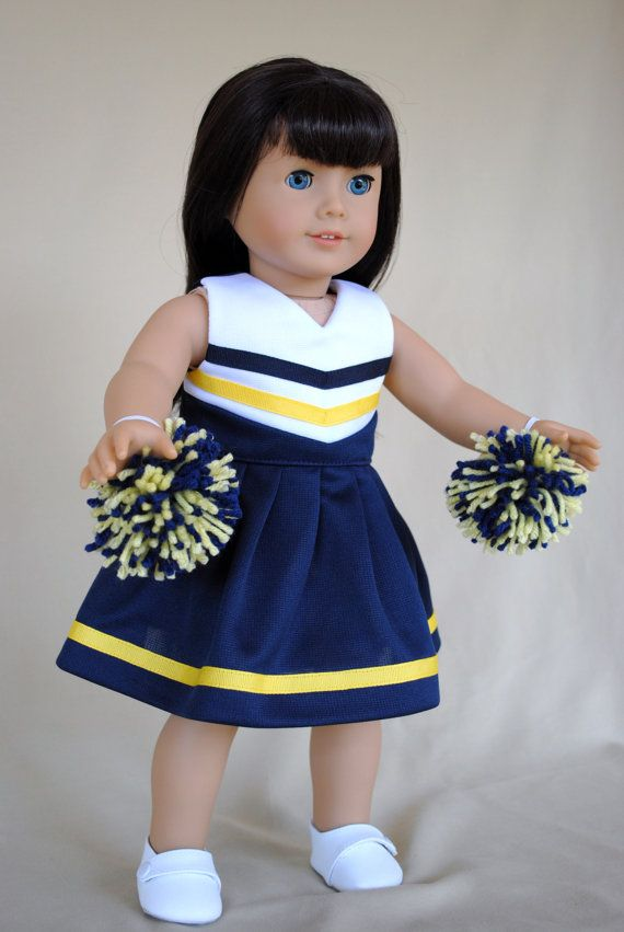 d24598027422 Navy Blue and Yellow Cheerleader Cheer Dress for American Girl 18 ...