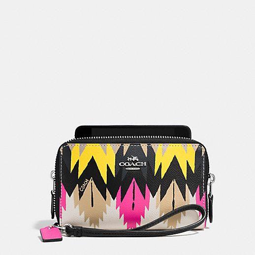COACH Designer Wallets | Double Zip Phone Wallet In Printed Crossgrain Leather