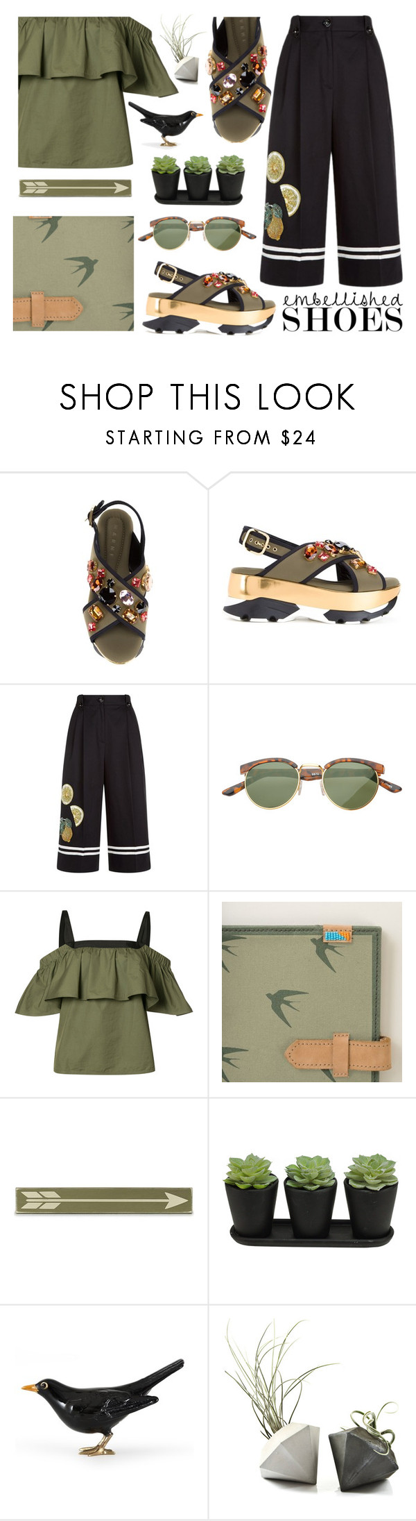 """Embellished Shoes"" by bysc ❤ liked on Polyvore featuring Marni, Dolce&Gabbana, SW Global, Grey by Jason Wu and Home Decorators Collection"
