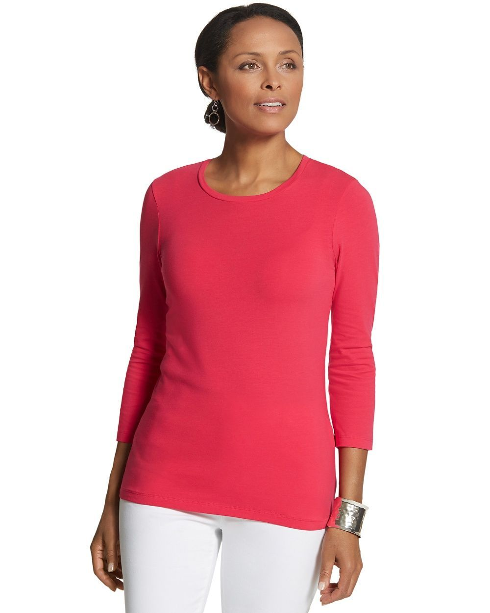 Chico's Women's Collette 3/4-Sleeve Tee,